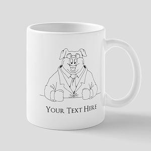 Pig in Suit. Custom Text Mug