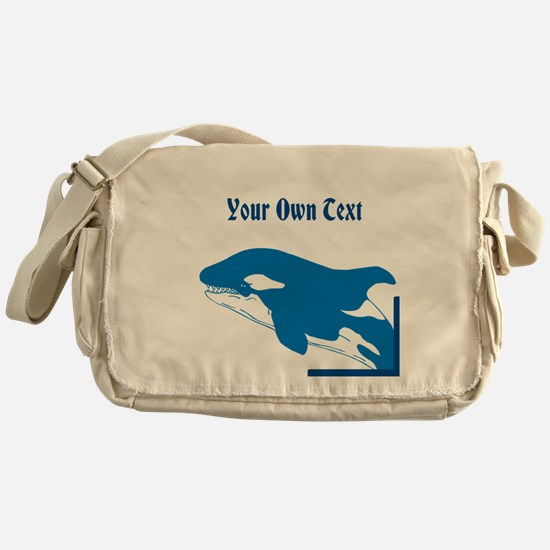Whale in Blue, Custom Text Messenger Bag