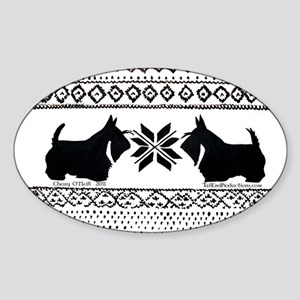 Scottish Terrier Holiday Swea Sticker (Oval)