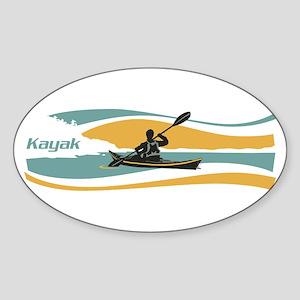 Kayak Sunrise Sticker (Oval)