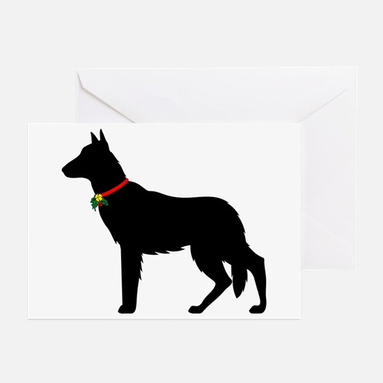 Christmas or Holiday German Shepherd Silhouette Gr