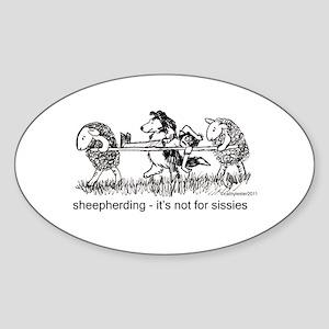 Sheepherding Sissies/Sheltie Sticker (Oval)