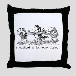 Sheepherding Sissies/Sheltie Throw Pillow