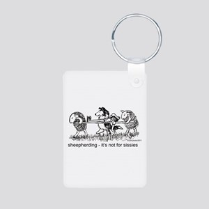 Sheepherding Sissies/Sheltie Aluminum Photo Keycha