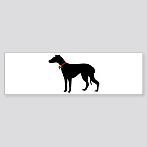 Christmas or Holiday Greyhound Silhouette Sticker