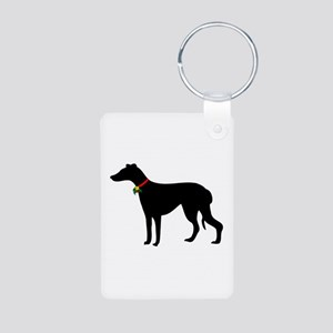 Christmas or Holiday Greyhound Silhouette Aluminum