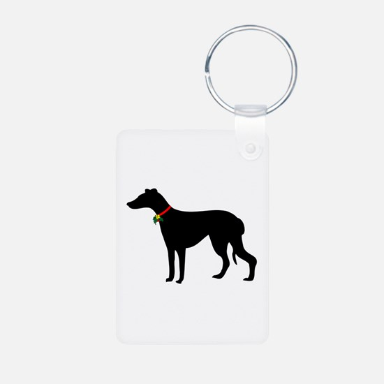 Christmas or Holiday Greyhound Silhouette Keychains