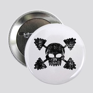 "Weightlifting Skull 2.25"" Button"