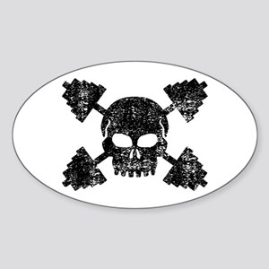 Weightlifting Skull Sticker (Oval)