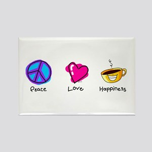 Peace Love and Coffee Rectangle Magnet