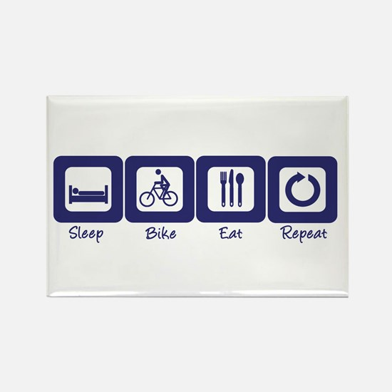 Sleep- Bike- Eat- Repeat Rectangle Magnet