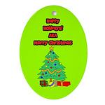 Merry Christmas Ornament (Oval)