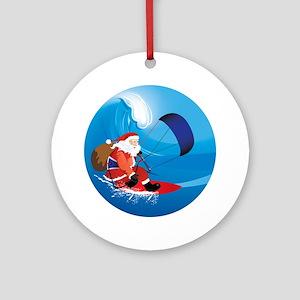 Santa Kitesurf Round Ornament