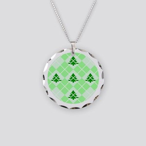 Christmas Tree Argyle Necklace Circle Charm