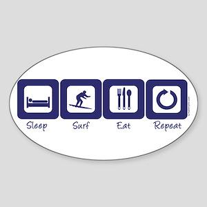 Sleep- Surf- Eat- Repeat Oval Sticker