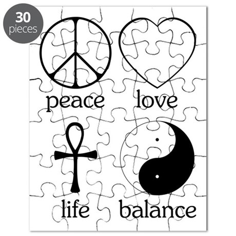 peace symbol puzzles cafepress Kanji Healing Symbol peace love life balance puzzle