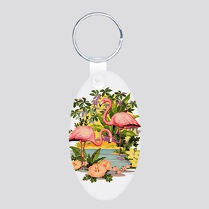 Pink Flamingos Aluminum Oval Keychain