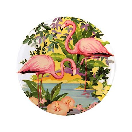 "Pink Flamingos 3.5"" Button"