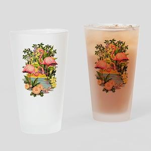 Pink Flamingos Drinking Glass