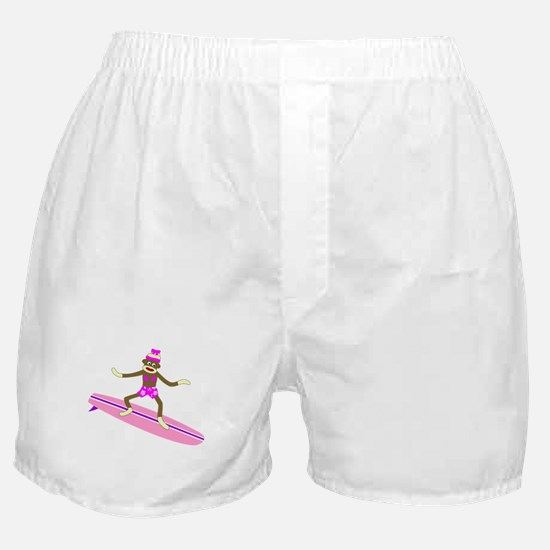 Sock Monkey Surfer Girl Boxer Shorts
