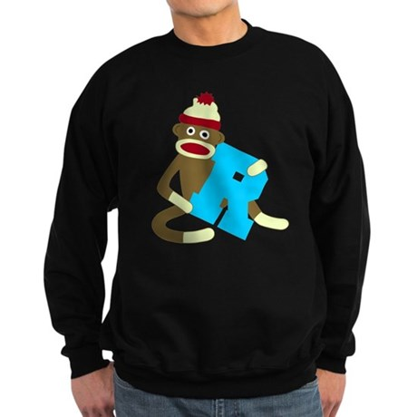 Sock Monkey Monogram Boy R Sweatshirt (dark)