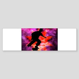 Skateboarder in Cosmic Clouds Sticker (Bumper)