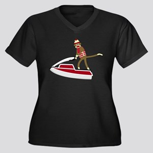 Sock Monkey Jet Ski Women's Plus Size V-Neck