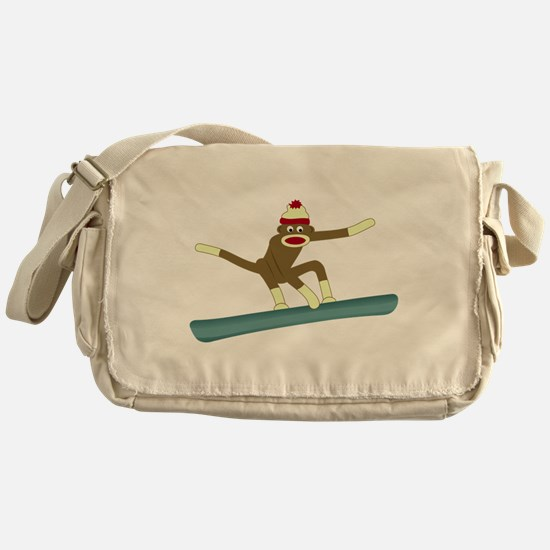 Sock Monkey Snowboarder Messenger Bag