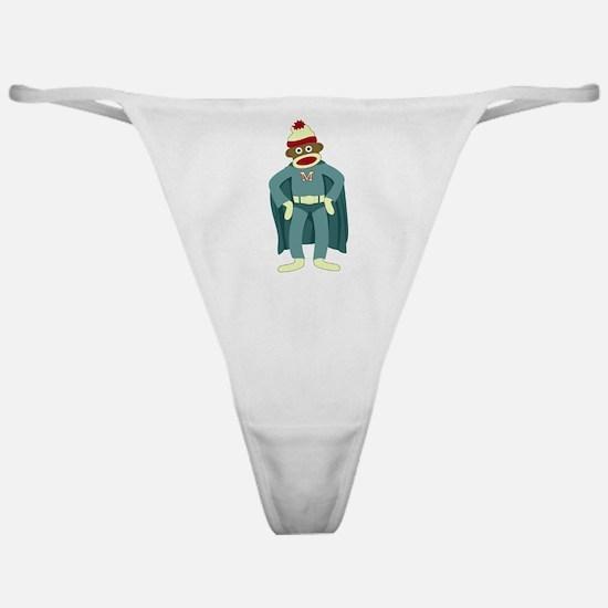 Sock Monkey Superhero Classic Thong