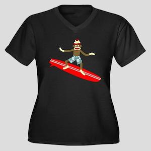 Sock Monkey Surfer Women's Plus Size V-Neck
