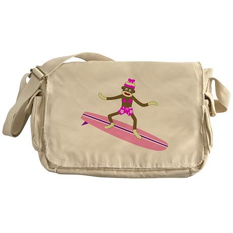 Sock Monkey Surfer Girl Messenger Bag