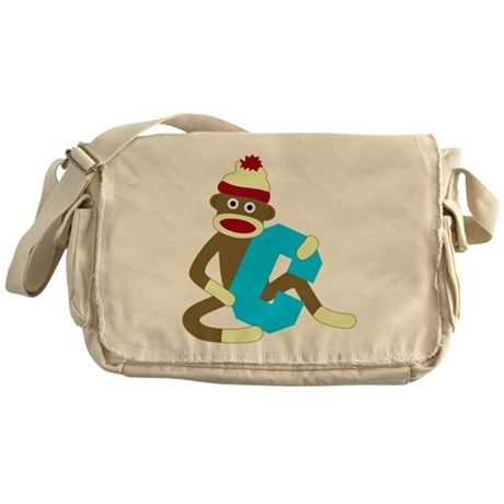 Sock Monkey Monogram Boy C Messenger Bag