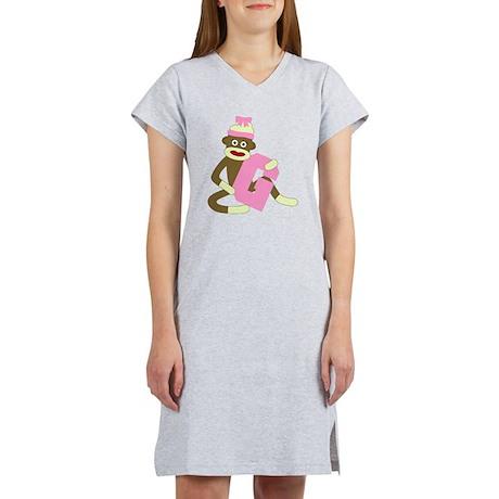 Sock Monkey Monogram Girl G Women's Nightshirt