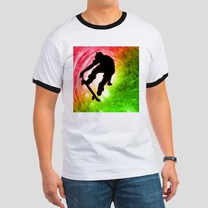 Skateboarder in a Psychedelic Ringer T