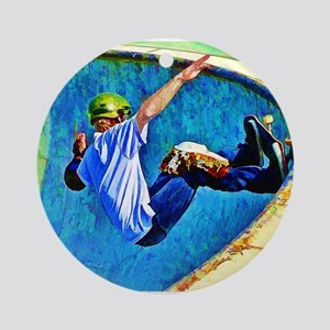 Skateboarding in the Bowl Ornament (Round)