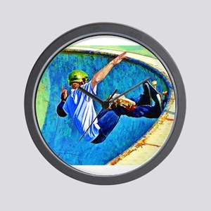 Skateboarding in the Bowl Wall Clock