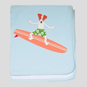 Jack Russell Terrier Surfer baby blanket