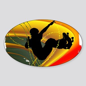Skateboarding in the Bowl Sil Sticker (Oval)