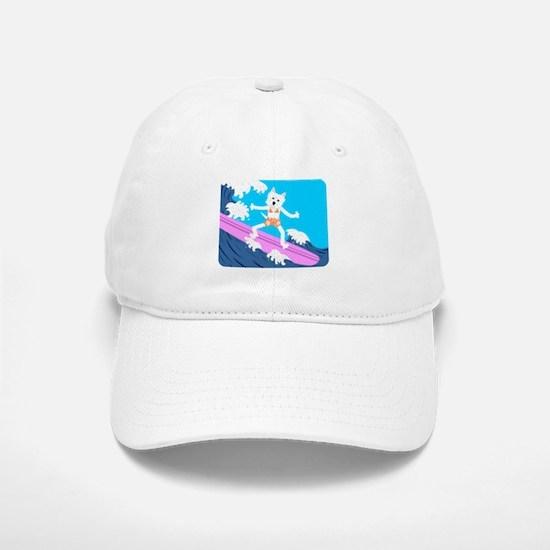 Westie Surfer Girl Baseball Baseball Cap