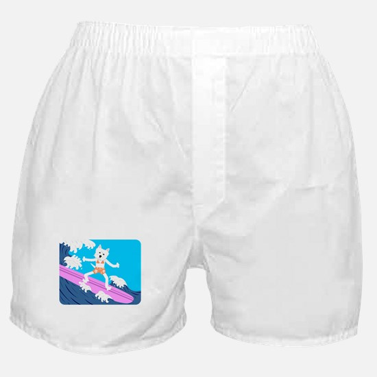 Westie Surfer Girl Boxer Shorts