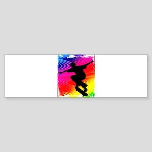 Rainbow Grunge Skateboarder Sticker (Bumper)
