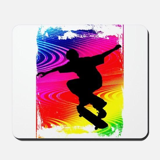 Rainbow Grunge Skateboarder Mousepad
