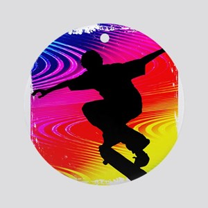 Rainbow Grunge Skateboarder Ornament (Round)