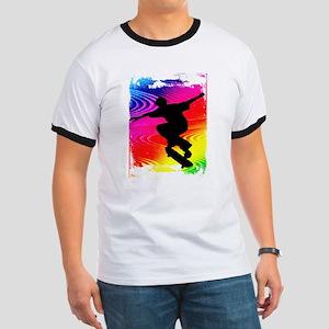 Rainbow Grunge Skateboarder Ringer T