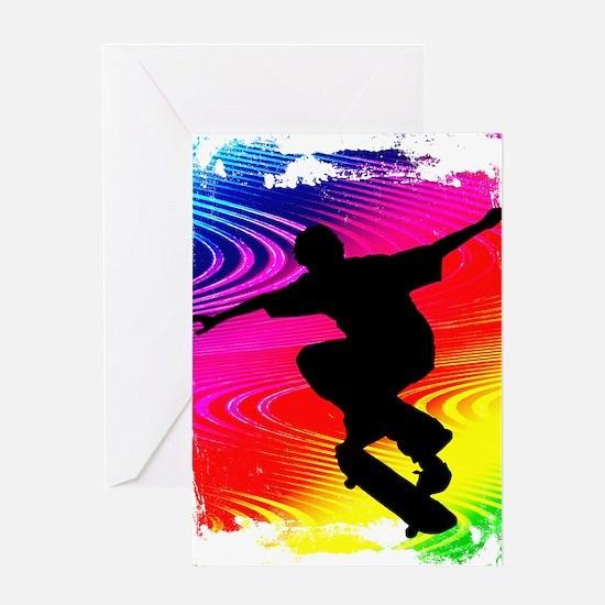 Rainbow Grunge Skateboarder Greeting Card