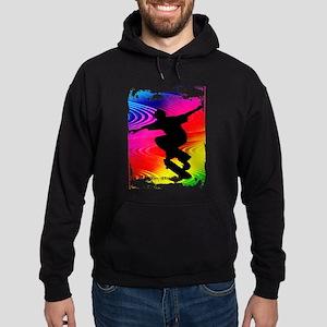 Rainbow Grunge Skateboarder Hoodie (dark)