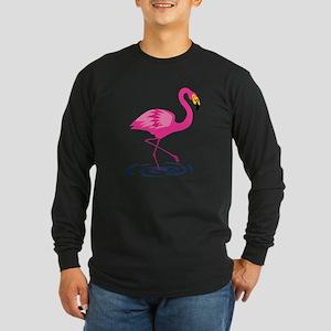 Pink Flamingo on One Leg Long Sleeve Dark T-Shirt