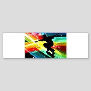 Skateboarder in Criss Cross L Sticker (Bumper)