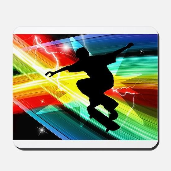 Skateboarder in Criss Cross L Mousepad