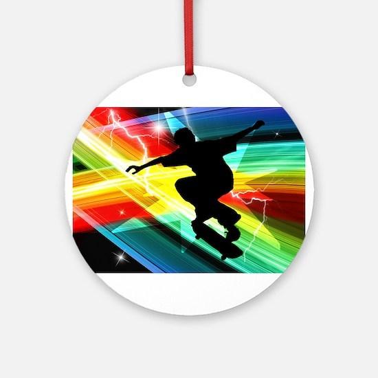 Skateboarder in Criss Cross L Ornament (Round)